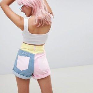 Hello Kitty x ASOS DESIGN color block denim shorts